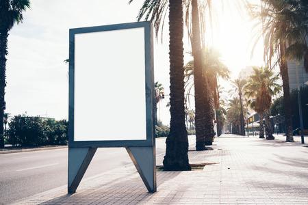lightbox: Blank lightbox on the street of the city.