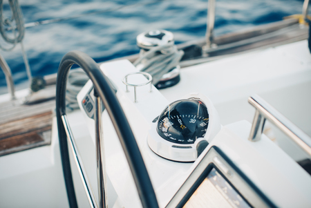 course: Sailing yacht control cockpit, wheel and implement. Horizontal Stock Photo