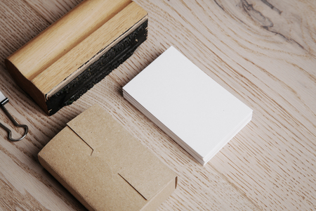 Set of  branding elements on the natural wood on a background