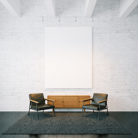 Blank white canvas and modern furniture on the white bricks wall on the background. Square