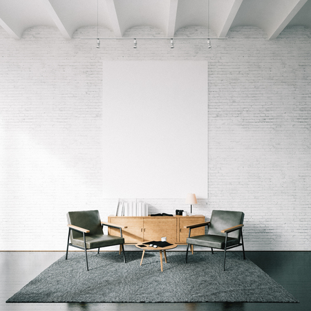 design template: Blank white canvas and modern furniture on the white bricks wall on the background.