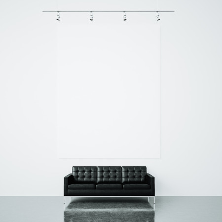 white canvas: Blank mockup of white canvas in the gallery and vintage sofa