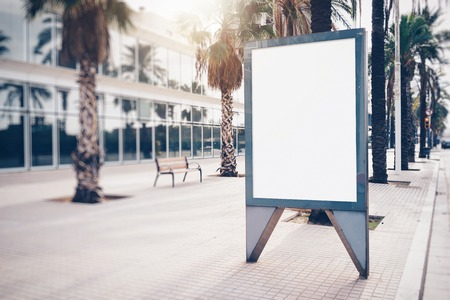 Blank lightbox on the street of the city.