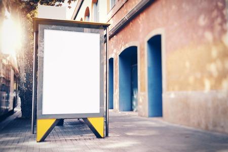 lightbox: Blank lightbox on the bus stop. Horizontal Stock Photo