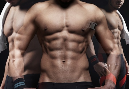 male body: Double exposure of athletic man on black background. Horizontal