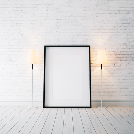 frame wall: White blank frame on the white wooden floor and white bricks wall on the background Stock Photo