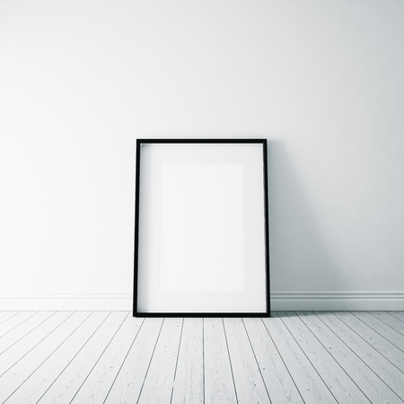 White blank frame on the white wooden floor and white  wall on the background 스톡 콘텐츠