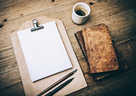 coffee table: Set of vintage elements and drawing tools on blank page Stock Photo