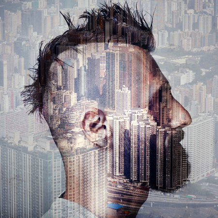 odd: Double exposure portrait of a savage and a modern city