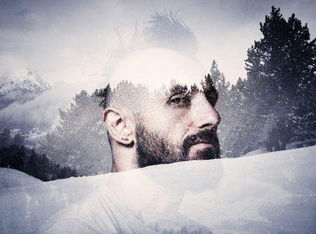 punk hair: Portrait of a bearded man with mohawk Stock Photo