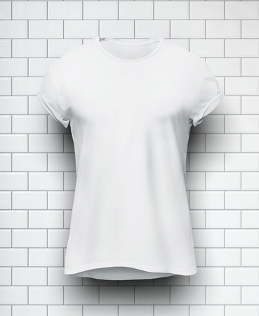 briks: White tshirt isolated on the white bricks wall