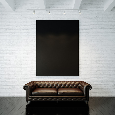 billboard background: Blank black canvas and vintage classic sofa against the painted brick wall background. Vertical