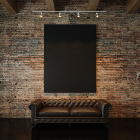 Blank black canvas and vintage classic sofa against the natural brick wall background. Vertical 스톡 콘텐츠