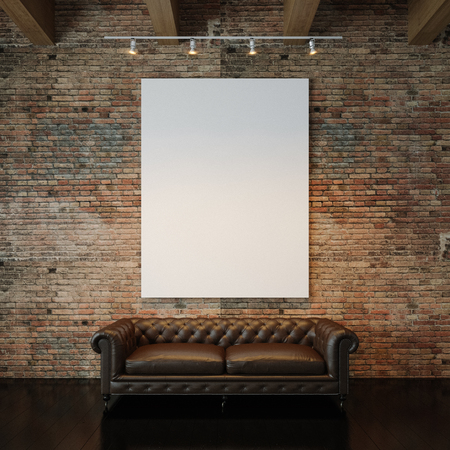 poster: Blank white canvas and vintage classic sofa against the natural brick wall background. Vertical
