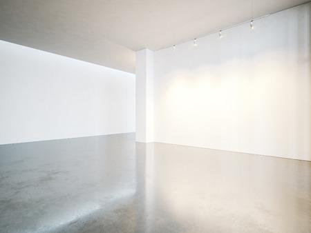 흰색 캔버스와 콘크리트 바닥 빈 갤러리 내부.