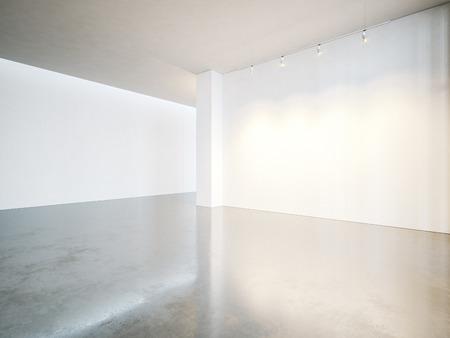 Empty gallery interior with white canvas and concrete floor. Stockfoto