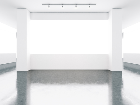 concrete floor: Empty museum gallery interior with concrete floor Stock Photo