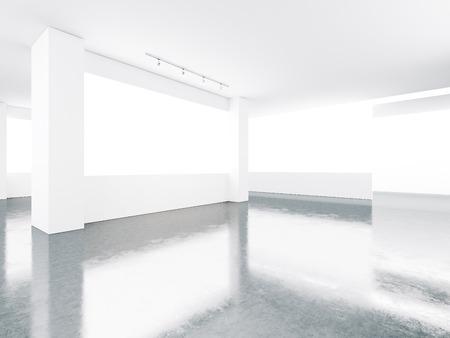 コンクリートの床と画面真っ白な美術館内部。水平方向 写真素材