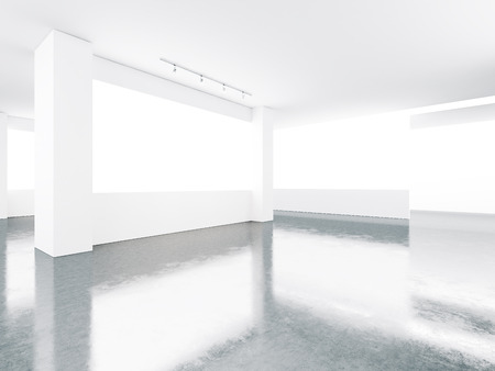 White museum interior with concrete floor and screens. Horizontal