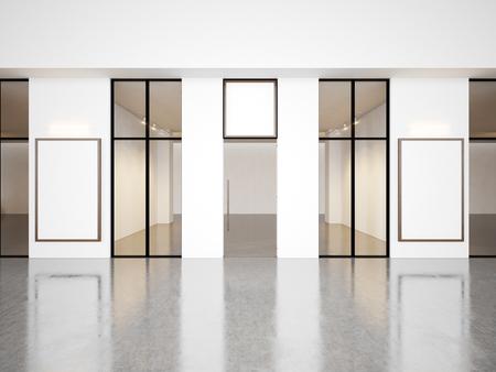 Empty hall of contemporary gallery with blank frames. Horizontal Archivio Fotografico