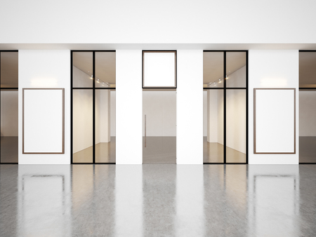 Empty hall of contemporary gallery with blank frames. Horizontal Stockfoto