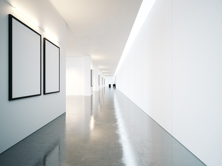 Empty space of contemporary gallery with blank frames Horizontal Imagens