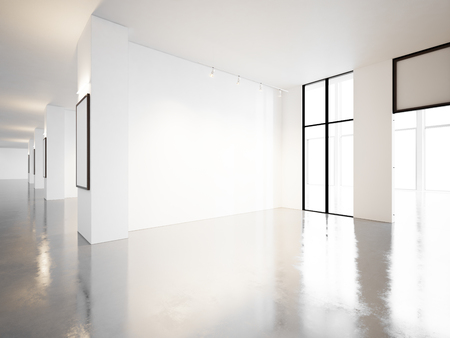 concrete floor: Empty room of contemporary gallery with blank frames and walls. Horizontal