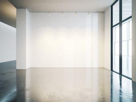 concrete floor: Blank white museum interior with concrete floor. Horizontal Stock Photo