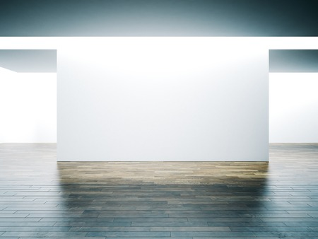 Big white wall in museum interior with wooden floor. Horizontal