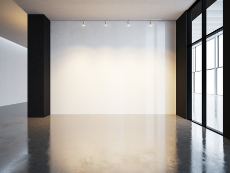 Blank canvas in museum interior with concrete floor. Horizontal Stockfoto