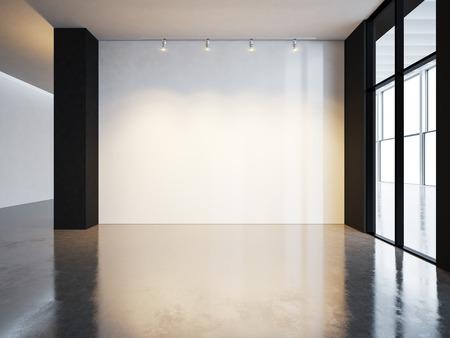 Blank canvas in museum interior with concrete floor. Horizontal Foto de archivo