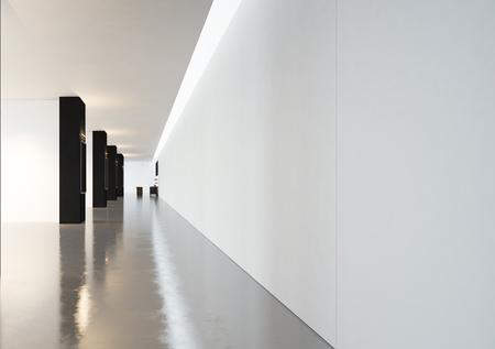 concrete floor: Blank space in contemporary gallery with black frames Horizontal