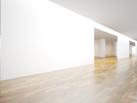 empty room: White panoramic wall in museum interior with wooden floor. Horizontal