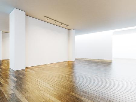 Große Weiße Wand Im Museum Interieur Mit Holzboden. Horizontal ...