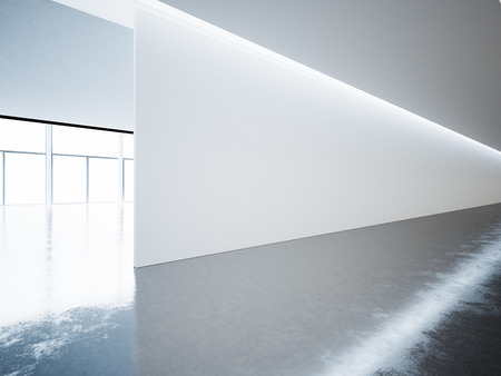 Blank panoramic wall in museum interior with concrete floor. Horizontal