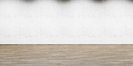 Een deel van wit geschilderde bakstenen muur met houten vloer, horizontaal.
