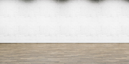wood floor: Part of white painted brick wall with wooden floor, horizontal. Stock Photo