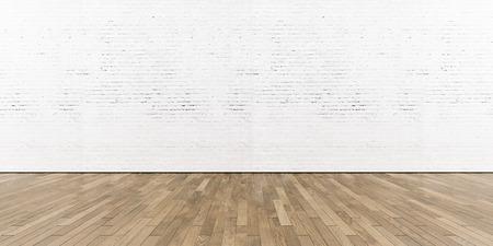 木製の床は、水平で白い塗られたレンガの壁の一部。