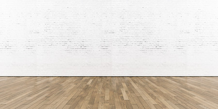 Part of white painted brick wall with wooden floor, horizontal. Archivio Fotografico
