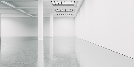 concrete floor: Empty white gallery interior with concrete floor. Wide