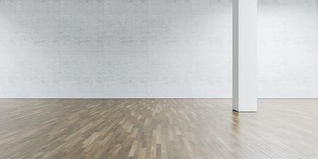 Open space gallery in modern loft. Brick wall with wooden floor.