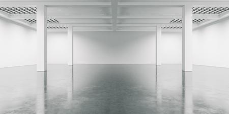 Open space interior with concrete floor.  Wide Archivio Fotografico