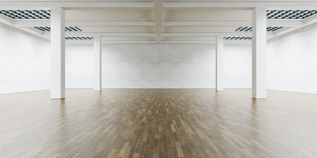 art museum: Open space interior with wooden floor.  Wide