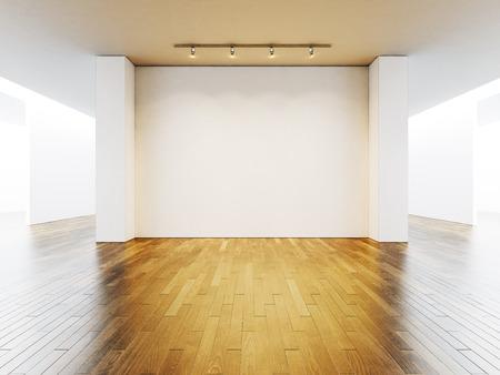 Wit galerie interieur met lege muren en houten vloer.