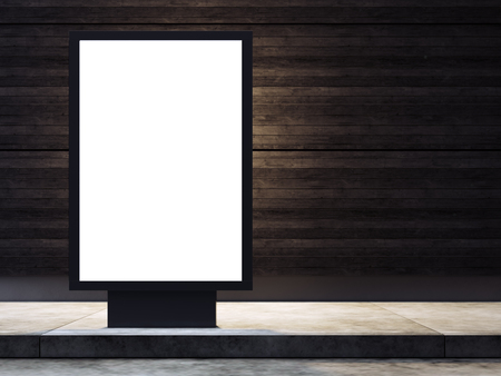 lightbox: Empty lightbox on the street. Wood wall on the background. Stock Photo