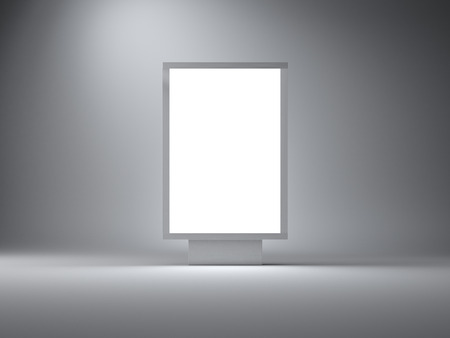 lightbox: Blank lightbox in the empty studio. Empty wall on the background.