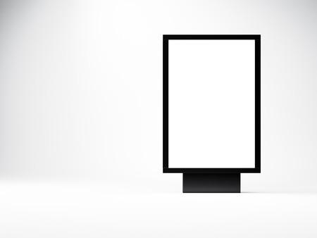 lightbox: black empty lightbox in the studio. Blank white wall background.