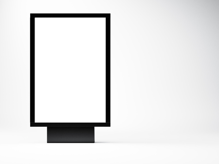 black empty lightbox in the studio. Blank white wall background.