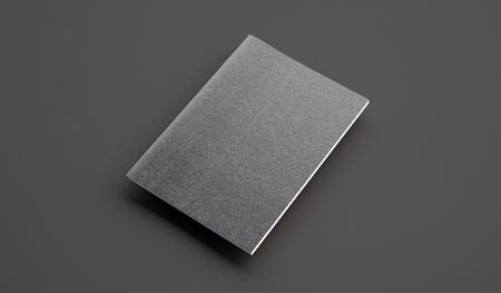 Closeup of leather cover on textbook on the gray background. Horizontal Stock Photo