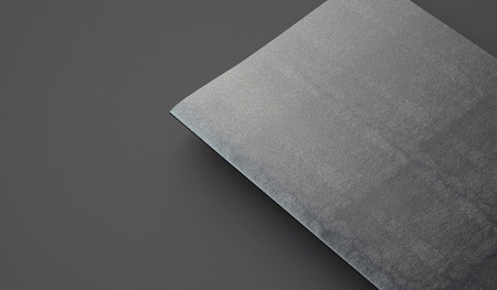 bookcover: Closeup of leather cover on textbook on the gray background. Horizontal Stock Photo